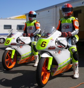 Kurt and Matthew with their new leathers